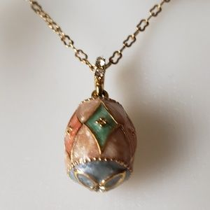 Avon Colorful Enamel Egg Necklace Cloisonné NIB